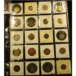 Sheet of 20 foreign coins - incl Mexico, Switzerland, Netherlands, New Zealand, Panama, Philippines,