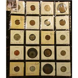 Another Sheet of 20 foreign coins - incl Australia, Bahamas, Bermuda, Britain, Canada, France, Jamai