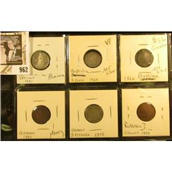 Group of 6 older foreign coins - Vatican 1951, Australia 1922, 3 pence, 1866 Prussian 1/2 Silber Gro