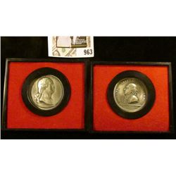 """First 2 medals issued in 1974 """"Americas First Medals"""" series, Washington before Boston & General Hor"""
