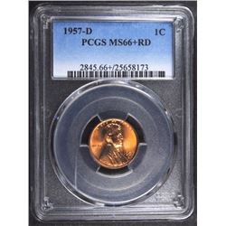 1957-D LINCOLN CENT, PCGS MS-66+ RED