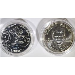 1995-D WWII & 1998-S KENNEDY UNC. COMMEM SILVER