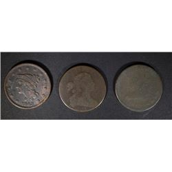 LARGE CENTS: 1801 GOOD, 1813 AG & 1843 VF