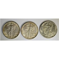 3-CH BU 1944-S WALKING LIBERTY HALF DOLLARS