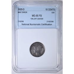 1920-D MERCURY DIME NNC SUPERB GEM FB