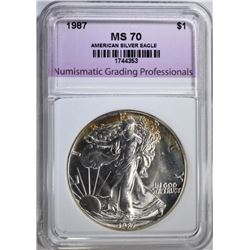 1987 AMERICAN SILVER EAGLE, NGP PERFECT GEM BU