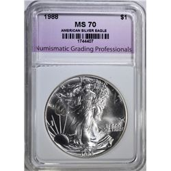 1988 AMERICAN SILVER EAGLE, NGP PERFECT GEM BU