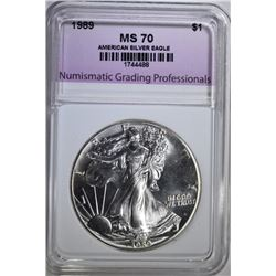 1989 AMERICAN SILVER EAGLE, NGP PERFECT GEM BU