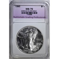 1990 AMERICAN SILVER EAGLE, NGP PERFECT GEM BU