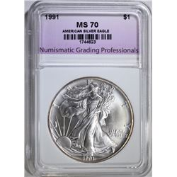 1991 AMERICAN SILVER EAGLE, NGP PERFECT GEM BU