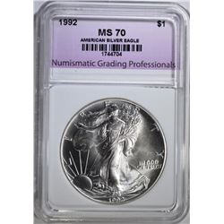 1992 AMERICAN SILVER EAGLE, NGP PERFECT GEM BU