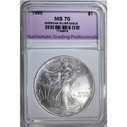1995 AMERICAN SILVER EAGLE, NGP PERFECT GEM BU