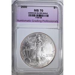 2000 AMERICAN SILVER EAGLE, NGP PERFECT GEM BU