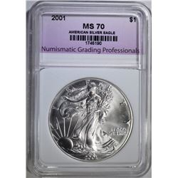 2001 AMERICAN SILVER EAGLE, NGP PERFECT GEM BU