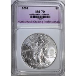 2002 AMERICAN SILVER EAGLE, NGP PERFECT GEM BU