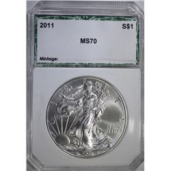 2011 AMERICAN SILVER EAGLE, PCI PERFECT GEM BU