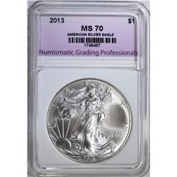 2013 AMERICAN SILVER EAGLE, NGP PERFECT GEM BU