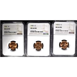 1955, 58 & 58-D LINCOLN CENTS, NGC MS66RD
