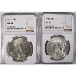 (2) 1923 PEACE SILVER DOLLARS, NGC MS-64