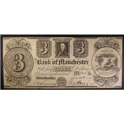 1837 $3.00 BANK OF MANCHESTER MI NOTE