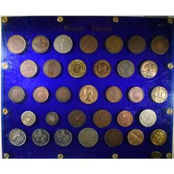43 MASONIC PENNIES IN CAPITOL PLASTIC HOLDER