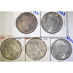 5 - 1922 PEACE SILVER DOLLARS