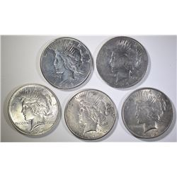 5 - PEACE SILVER DOLLARS; 1922, 1922-S,