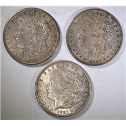 (2)1921-D & (1) 1921-S CIRC MORGAN DOLLARS