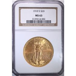 1910-S $20 ST GAUDENS GOLD NGC MS 63
