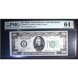 1934 B $20 FEDERAL RESERVE NOTE PMG 64 EPQ