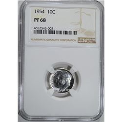 1954 ROOSEVELT DIME, NGC PF-68