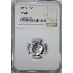 1955 ROOSEVELT DIME, NGC PF-69