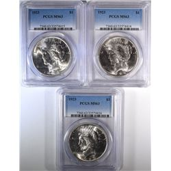 3-1923 PEACE DOLLARS, PCGS MS63