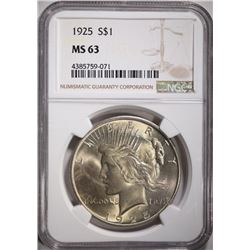 1925 PEACE DOLLAR, NGC MS-63