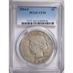 1934-S PEACE DOLLAR, PCGS VF-30