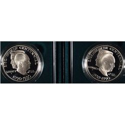 (2) 1990-P Eisenhower Proof Silver Dollars