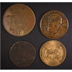LOT OF 4-TOKENS/MEDALS