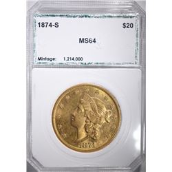 1874-S $20.00 GOLD LIBERTY, PCI CH/GEM BU