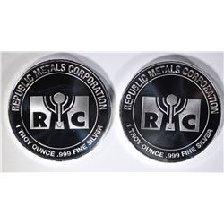2-ONE OUNCE RMC .999 SILVER ROUNDS