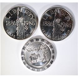3-ONE OUNCE .999 SILVER ROUNDS:
