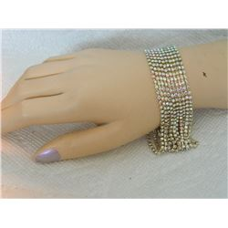 BRACELET - 10 STRAND RHINESTONES - 1 STRAND AS-IS - SEE PICS