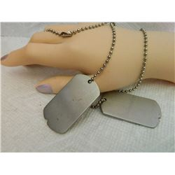 DOG TAG PENDANTS (2) BLANK - ON BALL CHAIN