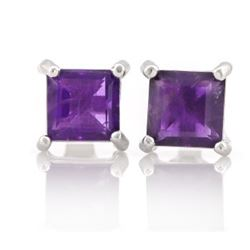 EARRINGS - 1 1/2 CTW AMETHYST IN 925 STERLING SILVER SETTING - RETAIL ESTIMATE $250