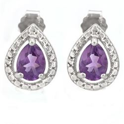 EARRINGS - 1 CTW AMETHYST IN 925 STERLING SILVER SETTING - RETAIL ESTIMATE $250