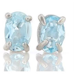 EARRINGS - 1 CTW BABY SWISS BLUE TOPAZ IN 925 STERLING SILVER SETTING - RETAIL ESTIMATE $250