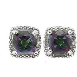 EARRINGS - 2 CTW MYSTIC GEMSTONE & 2 DIAMOND IN 925 STERLING SILVER SETTING - RETAIL ESTIMATE $350