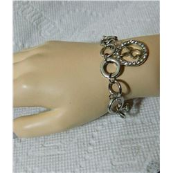 "ESTATE - BRACELET - BOW & HEART TOGGLE CLASP WITH PLAYBOY BUNNY CHARM - 7.5"" LONG"
