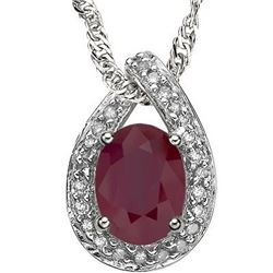 NECKLACE -  0.604 CARAT TW GENUINE RUBY & GENUINE DIAMOND IN PLATINUM OVER 925 STERLING SILVER SETTI