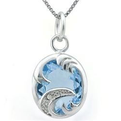 NECKLACE -  4.406 CARAT TW BLUE TOPAZ & GENUINE DIAMOND IN PLATINUM OVER 925 STERLING SILVER SETTING