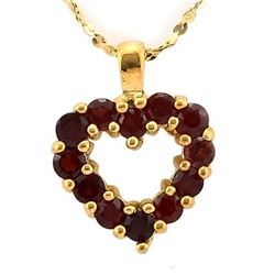 "NECKLACE - 0.6 CARAT TW (12 PCS) GARNET IN 24K GOLD OVER 925 SILVER SETTING - INCLUDES 15"" YELLOW GO"